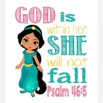 Jasmine Christian Princess Wall Art Nursery Decor Print - God is within her she will not fall - Psalm 46:5 - Multiple Sizes