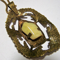 Cream Agate Stone Pendant Necklace, Antiqued Gold Tone Setting, Artisan Polished Stone Pendant, Boho Style  1117
