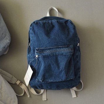 Retro simple AA denim backpack bag men and women backpack large capacity bag casual solid color