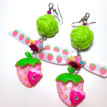 Strawberry earrings, pink and lime green earrings, sweet lolita jewelry, kawaii bow earrings, big earrings, summer jewelry, harajuku fashion