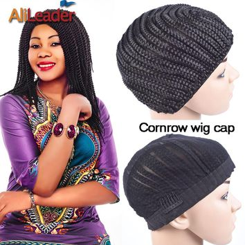 2Pcs/Lot Crochet Wig Cap Large Size Cornrow Braided Lace Wig Caps Great Elastic 52Cm-66Cm Black Easier Sew Glueless Lace Wig Cap