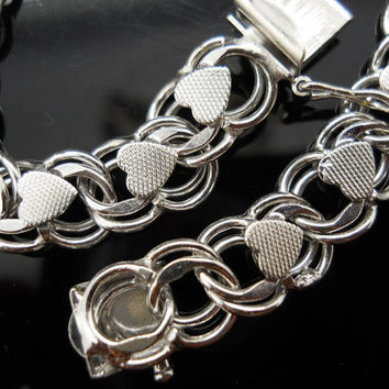 Heart Bracelet Sterling Silver Double Circle 7 Inch Chain 925 Charm