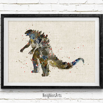 Godzilla Watercolor Print, Godzilla Baby Nursery Room Art, Minimalist Home Decor Not Framed, Buy 2 Get 1 Free!