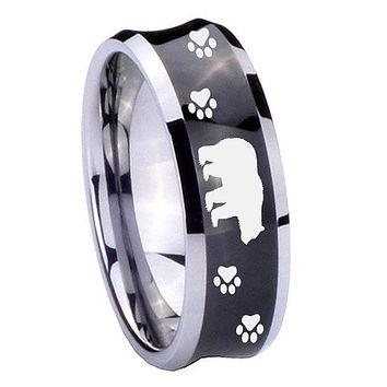 10mm Bear and Paw Concave Black Tungsten Carbide Mens Promise Ring