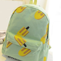 Cute Girl Popsicle Ice Cream Bar Pattern Printing Women's Backpack Traveling Outdoor Practical School Bag Unique Fashion Canvas Light Green Backpack