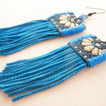 Vivid fringe earrings - bright blue textile fringe earrings - fabric statement earrings