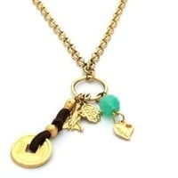 Long Good Luck Charms Gold Necklace By Mizze Jewelry