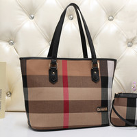Burberry Women Leather Tote Shoulder Bag Satchel Handbag