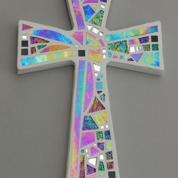 "Mosaic Wall Cross, White with Iridescent + Textured Glass + Silver Mirror,  Handmade Stained Glass Mosaic Cross Wall Decor, 12"" x 8"""