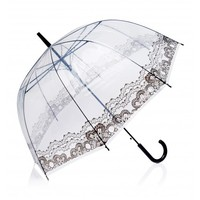 Chiara Clear Lace Umbrella - Clear & Black