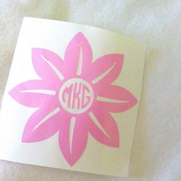 Flower Monogram, Pointy Flower, Sticker for Yeti cup, Window Decal, Monogram Decal