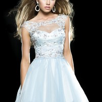 Clarisse 2414 Sky Blue Lace Organza Party Dress