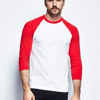 The Idle Man Long Sleeve Raglan- White Red - THE IDLE MAN. - Brands | The Idle Man