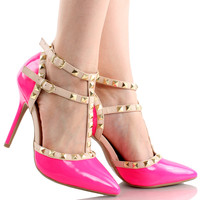 Adora-64 D-Orsay Ankle T-Strap Stiletto Pumps