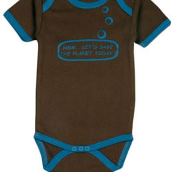 Ideo Let's Save the Planet Brown Organic Onesuit