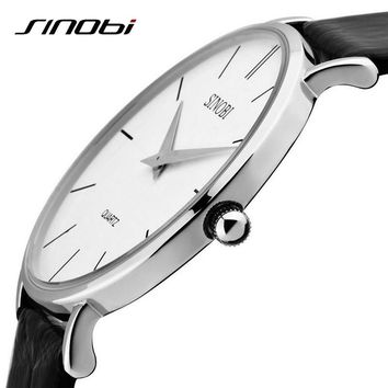 Super Slim Quartz Wristwatch Males Business Genuine Leather Casual Quartz Watches Men and Women's