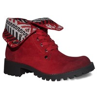 Dolce by Mojo Moxy Lumberjack Women's Fold-Over Ankle Boots