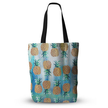 "Nikki Strange ""Pineapple Beach"" Blue Brown Everything Tote Bag"