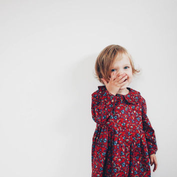 Toddler Dress - Girls Winter Long sleeve Dress - Flower Print Dress Handmade by OFFON