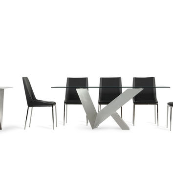 Modrest Harlow & Wesley 10pc Modern Stainless Steel Dining Set