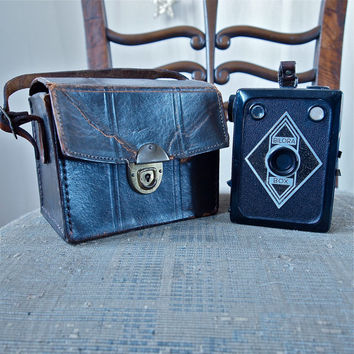 Rare Bilora Box Medium Format 6 x 9 Camera Czech 1930's Art Deco Collectible Antique with Leather Case