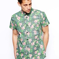 Jack & Jones Short Sleeve Shirt With Tonal Hawaiian Print