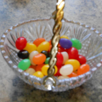 Glass Candy Dish with Gold Toned Handle