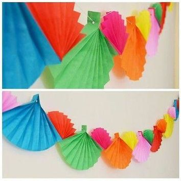Celebration Rainbow Paper Fans Paper Garland 12 Ft Long