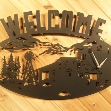 Metal Clock Metal Wall Art Welcome Sign Mountains Cabin Windmill By PrecisionCut