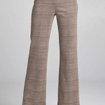 Ladies fashion waist band w/button long wide check pants