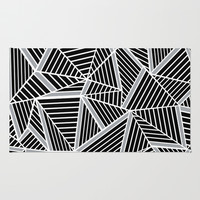 Ab lines Zoom Black and Silver Rug by Project M