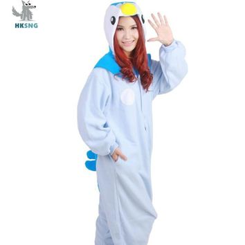 HKSNG Animal Adult Blue Penguin Kigurumi Custom Made Pajamas Cartoon Fleece Family Party Cute Onesuits Cosplay Sleepwear