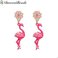 DoreenBeads Earrings Gold Color Pink Flamingo Flower Clear Rhinestone Enamel 47*11mm  Post/ Wire Size: (21 gauge), 1 Pair