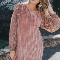 Jodi Floral Velvet Dress, Blush