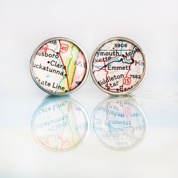 Let's Get Hitched • Map Name Cufflinks