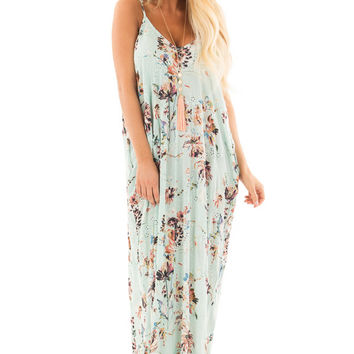Mint Floral Print Cocoon Maxi Dress