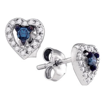 10kt White Gold Womens Round Blue Color Enhanced Diamond Heart Stud Earrings 1/5 Cttw