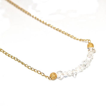 Delicate Necklace Herkimer Diamond Necklace Herkimer Jewelry Quartz Necklace Bar Necklace Minimalist Jewelry Herkimer Quartz Everyday Jewel