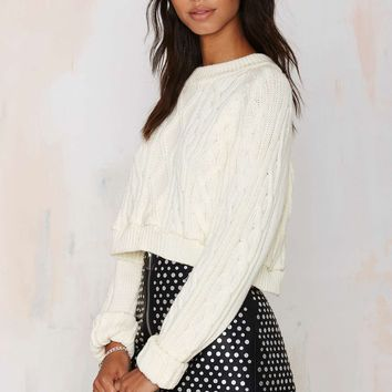 After Party Vintage Bridgette Cropped Cable Sweater