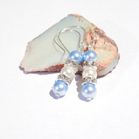 Light blue  pearl dangle earrings