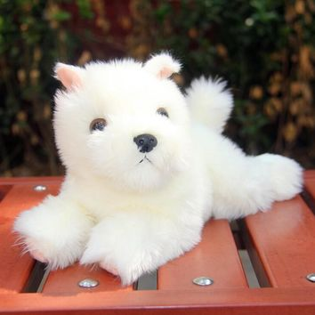 Lying West Highland White Terrier Dog Stuffed Animal Plush Toy 9""