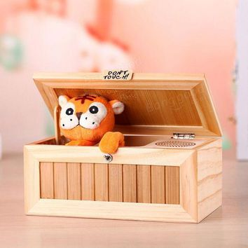 DCCKL72 Upgrade Wooden Electronic Useless Box with Sound Cute Tiger 20 Modes Funny Toy Gift Stress-Reduction Desk Decoration