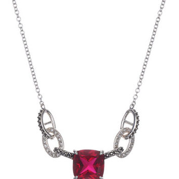 Judith Jack Crystallized Link and Garnet Crystal Frontal Necklace