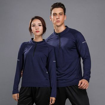 Men Women Running T-shirts Long Sleeves Thermal Quick Dry Basketball Soccer Training Jersey Sports Workout fitness Gym Shirt