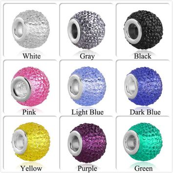 Charms For Bracelets Mixed colors 12pcs/lot Resin Ball Glass Crystal fit European pand