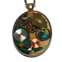 Eclectic Steampunk Pendant with Butterfly, Cyberpunk Butterfly Style Pendant