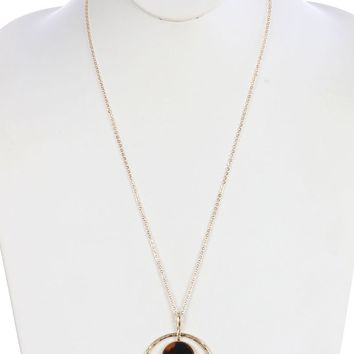 Brown Marble Stone Finish Cutout Metal Pendant Necklace
