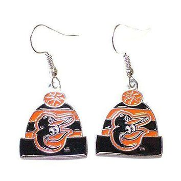 MLB Licensed Beanie Knit Hat Dangle Earrings (Baltimore Orioles)
