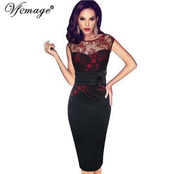 Vfemage Women Sexy embroidered Floral Lace Tunic Party Evening Special Occasion Bridesmaid Mother of Bride Embroidery Dress 4075