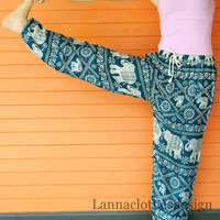 Long Elephant Yoga Pants Dark green color Harem Pants Elephant Print design Stretch elastic waist Meditation pant Maternity pant Relax pants